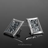 Silver oxidized corrugated EARRINGS