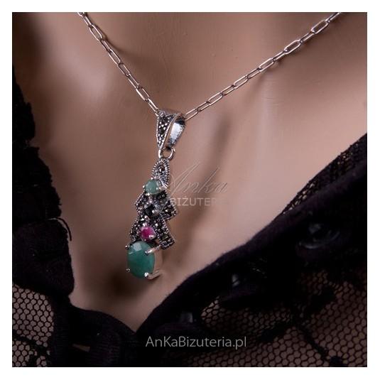 """Komplecik Biżuterii srebrnej - Absolutny -  """"Take me""""  - jadeit, onyks,markazyty i rubin."""