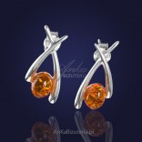 """Burszyn """"under sail"""" - silver earrings with natural Baltic amber."""