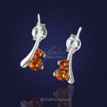 "Silver earrings ""dew droplets on grass"" with natural cognac amber"