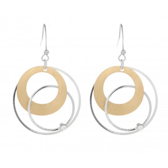 Piękne kolczyki pokryte srebrem i 14 karatowym złotem z kryształem Dansk Smykkekunst