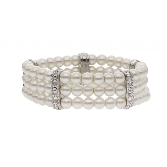 Piękna bransoletka w stylu Coco Chanel z perłami i kryształkami duńskiej firmy Dansk Smykkekunst
