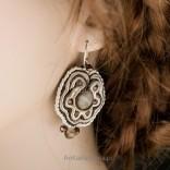 Beautiful earrings from soutache and striped flint