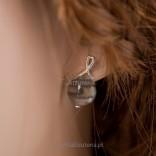 Silver earrings with striped flint - flint in a minimalist frame made of silver.
