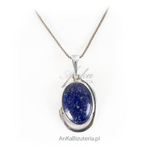Srebrny autorski  wisior z lapis lazuli - ręczny wyrób