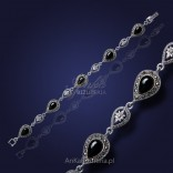Silver bracelet with onyx and marcasites - for work and for after creations.