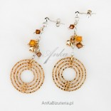 Fashionable - ethno style - silver earrings with Swarovski crystals covered with gold