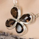 Necklace with smoky quartz and 925 silver - Clover
