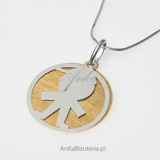 """""""Słodki urwisek"""" - mały chłopczyk - wisiorek srebrny z  elementami 14 k złota"""