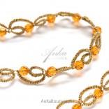 Necklace with crystals SVAROWSKI-orange with tatting