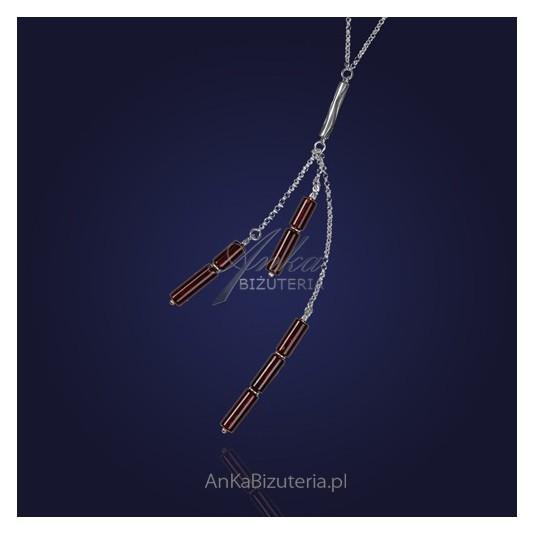 Kolia srebrna  brązowe sople  bursztynowe