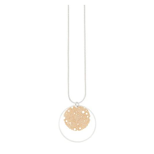 Elegancki naszyjnik pokryty srebrem i 14 karatowym złotem duńskiej firmy Dansk Smykkekunst