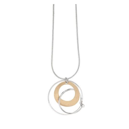 Piękny naszyjnik pokryty srebrem i 14 karatowym złotem z kryształem Dansk Smykkekunst