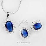 Jewelry set, silver Awning with sapphire. Earrings with a pendant.