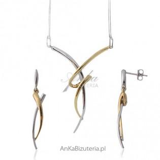 Naszyjnik, kolczyki srebrny rodowany z 14 k złotem