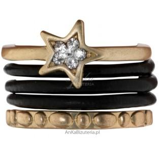 Pierścionek pokryty 14 k złotem, ze skóry  - 5 pierścionków na 1 palcu - HIT Sezonu!