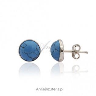 Kolczyki srebrne wkrętki - z niebieskim turkusem.