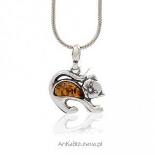 Biżuteria srebrna - kotek srebrny z bursztynem