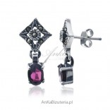 Silver earrings with pomegranates and marcasites - sensual femininity.
